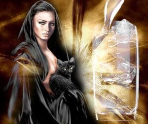 Ведьма с кошкой