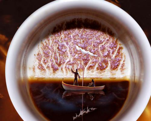 Кофе и пара в лодке